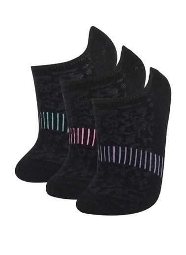 DeFacto Desenli 3'lü Patik Çorap Siyah
